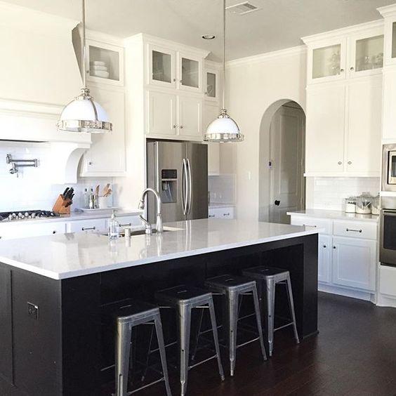 Black and white kitchen - love the galvanized stools kellyelko.com
