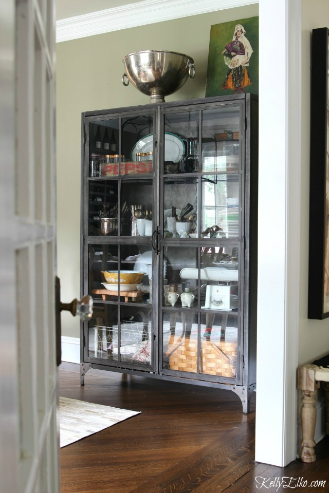 Love this metal industrial cabinet for storage kellyelko.com