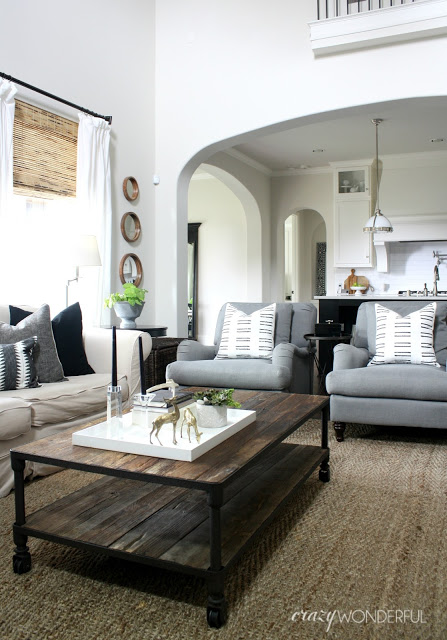Neutral family room in beiges, whites and grays kellyelko.com