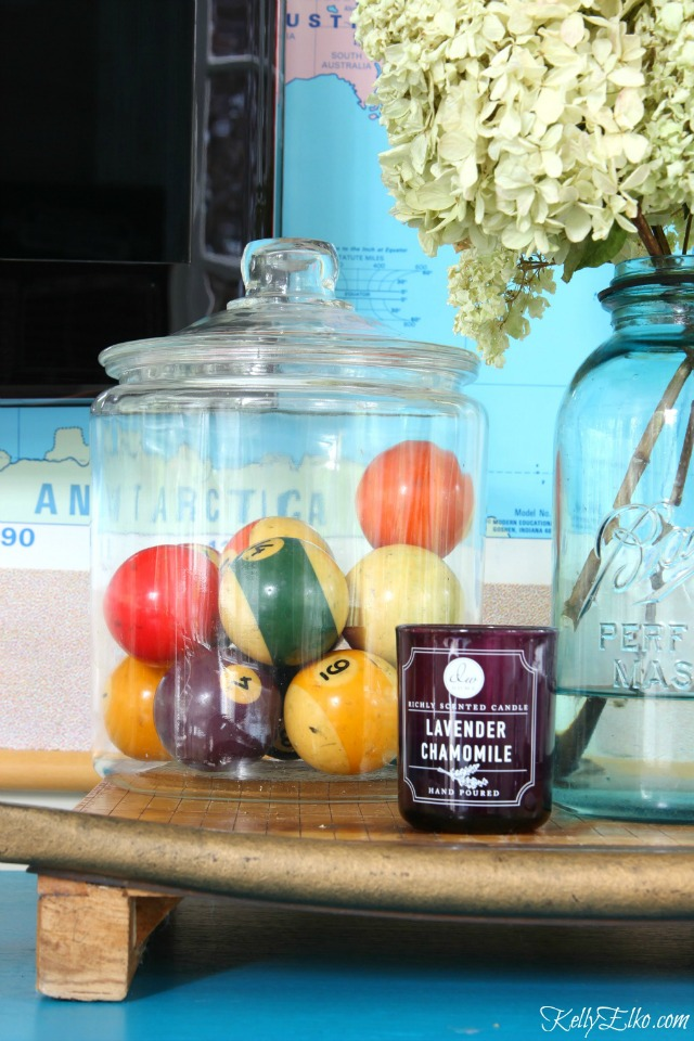 Vintage billiard balls in a jar kellyelko.com