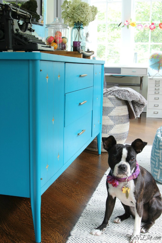 Turn a vintage sideboard into a media cabinet with vibrant blue paint kellyelko.com