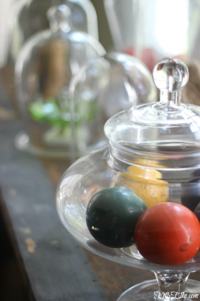 Vintage croquet balls in a glass jar kellyelko.com
