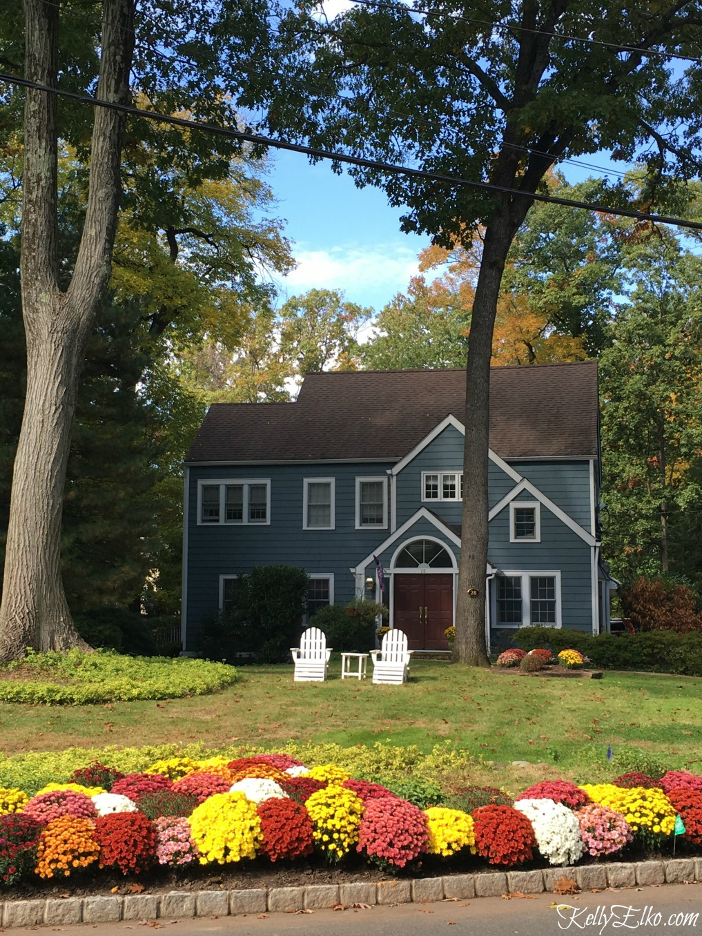Charming blue house with lots of mums - see more fall homes with curb appeal kellyelko.com