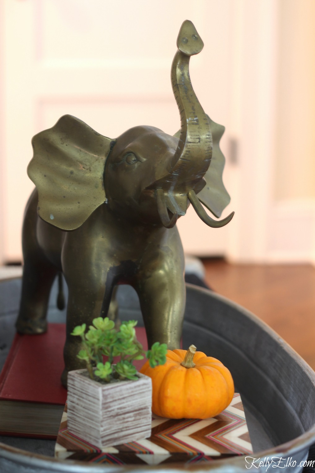Brass is back! Love this huge vintage brass elephant kellyelko.com