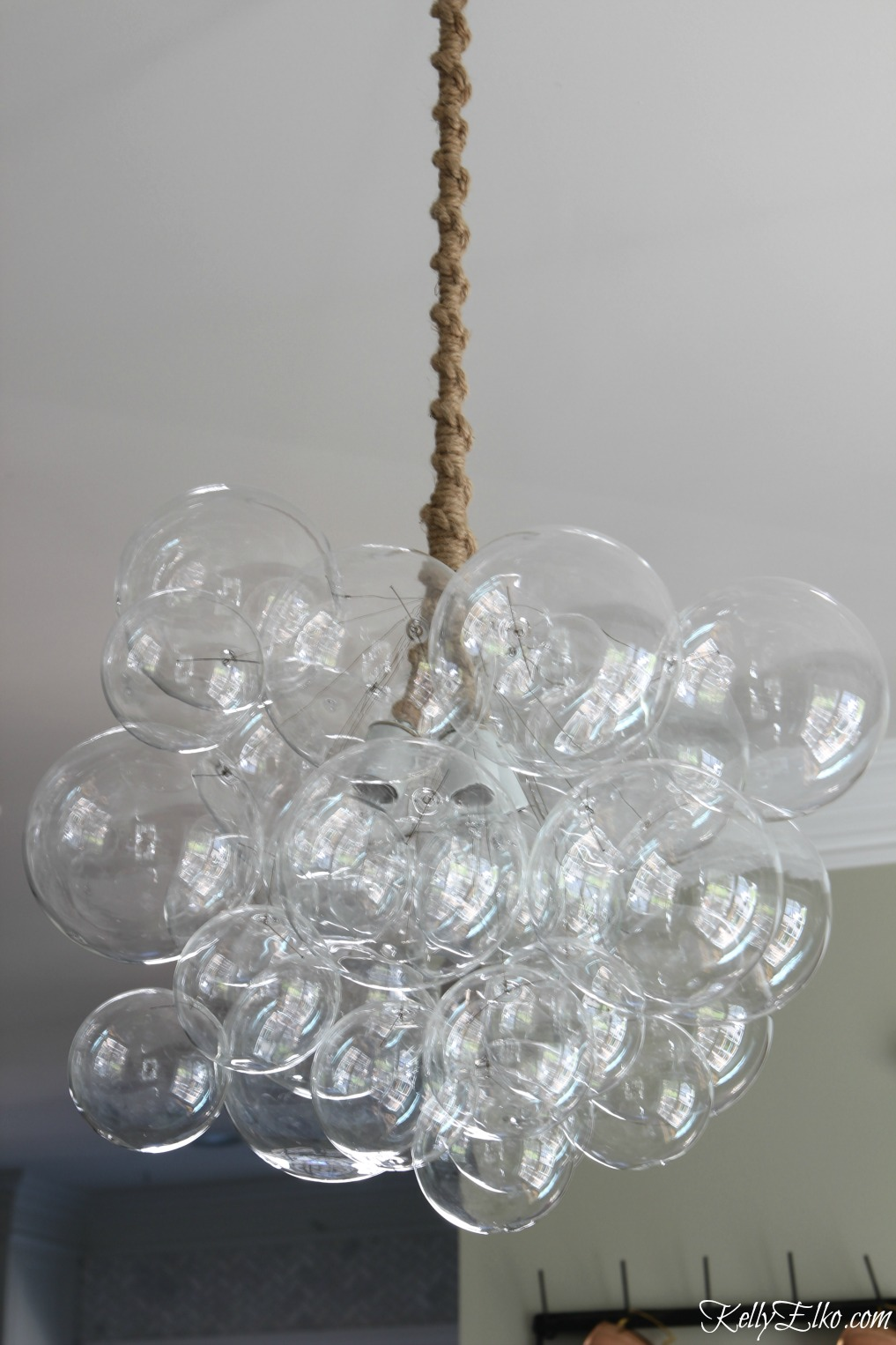 Love this bubble chandelier with jute cord - it's a true work of art kellyelko.com
