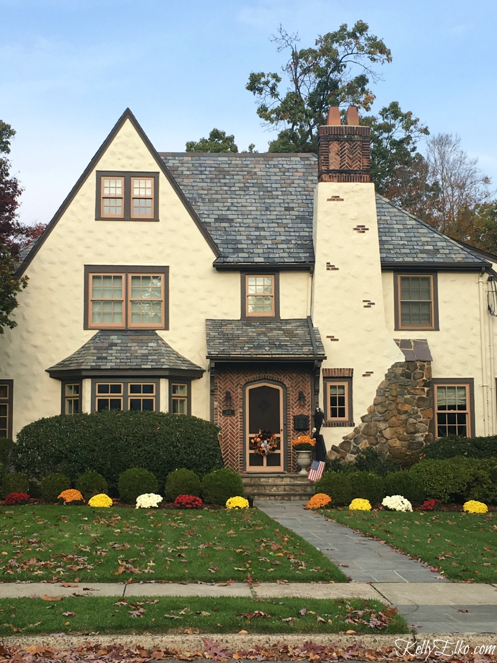 Charming old Tudor home - see more fall homes with curb appeal kellyelko.com