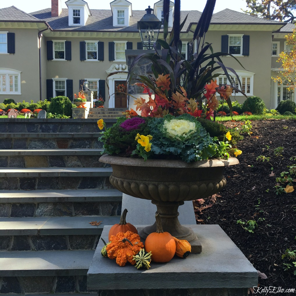 Classic fall urn planter - see more fall homes with curb appeal kellyelko.com