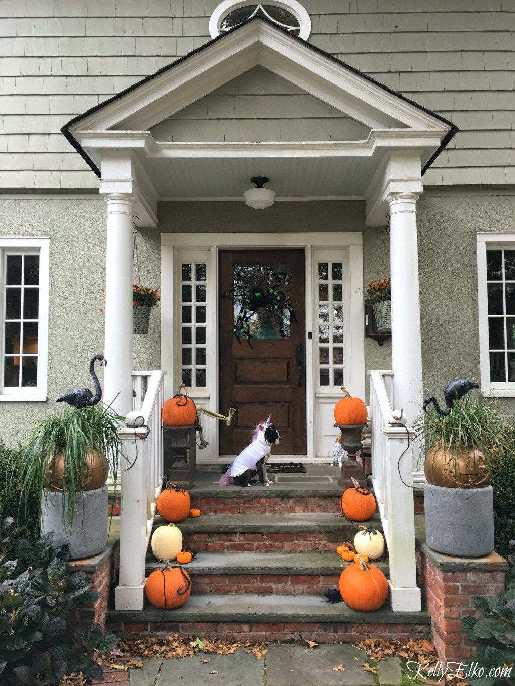 I love this simple Halloween porch and those cute pumpkin planters! kellyelko.com