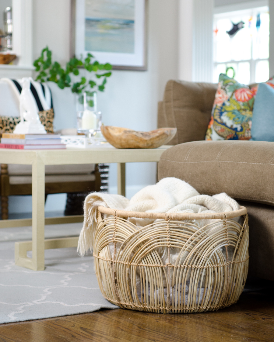 Rattan basket is perfect for holding throw blankets