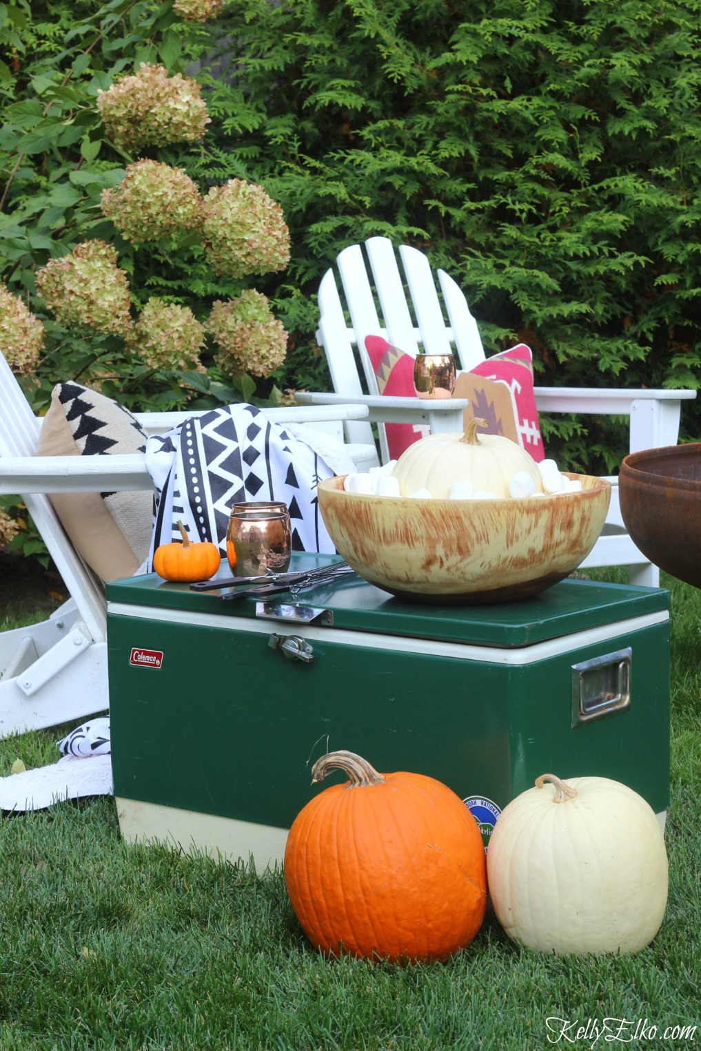 Host a s'mores party - love this cozy seating area kellyelko.com
