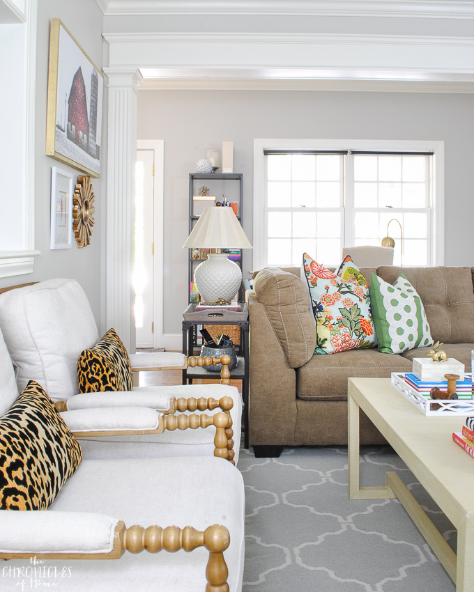 Cozy family room with leopard pillows