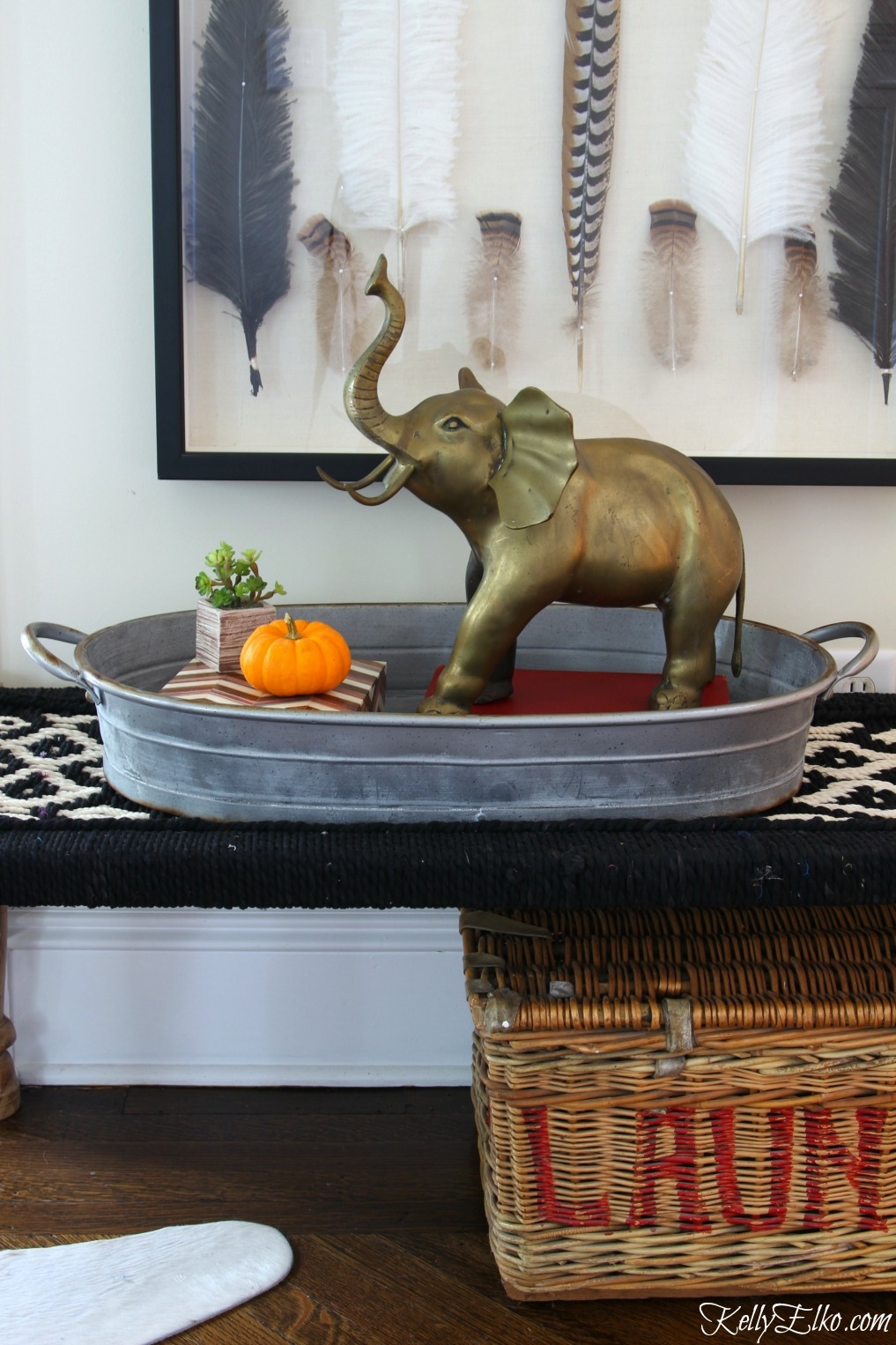 Vintage large brass elephant - brass is back and I love brass animals as home decor kellyelko.com