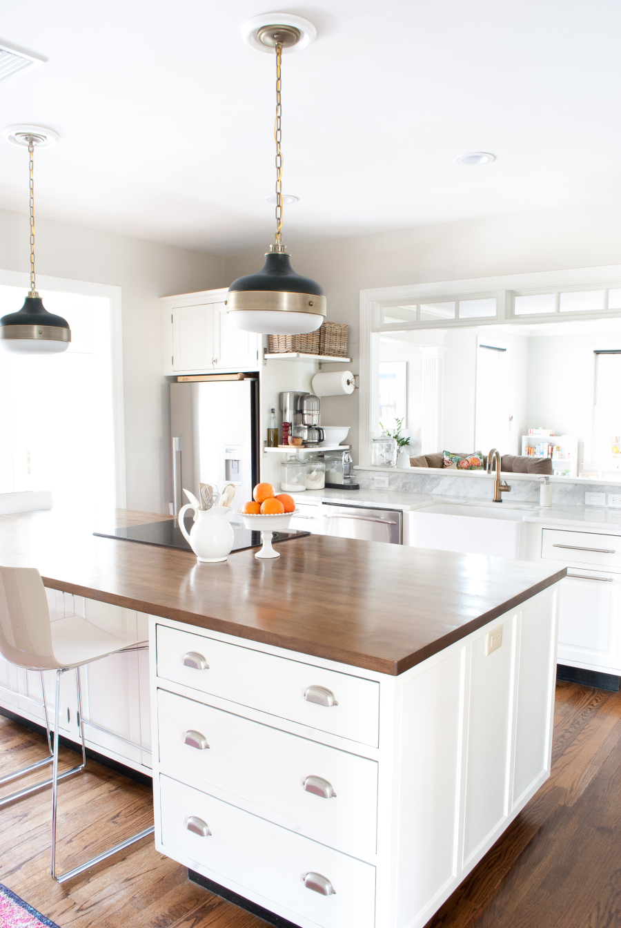 White kitchen with wood countertops