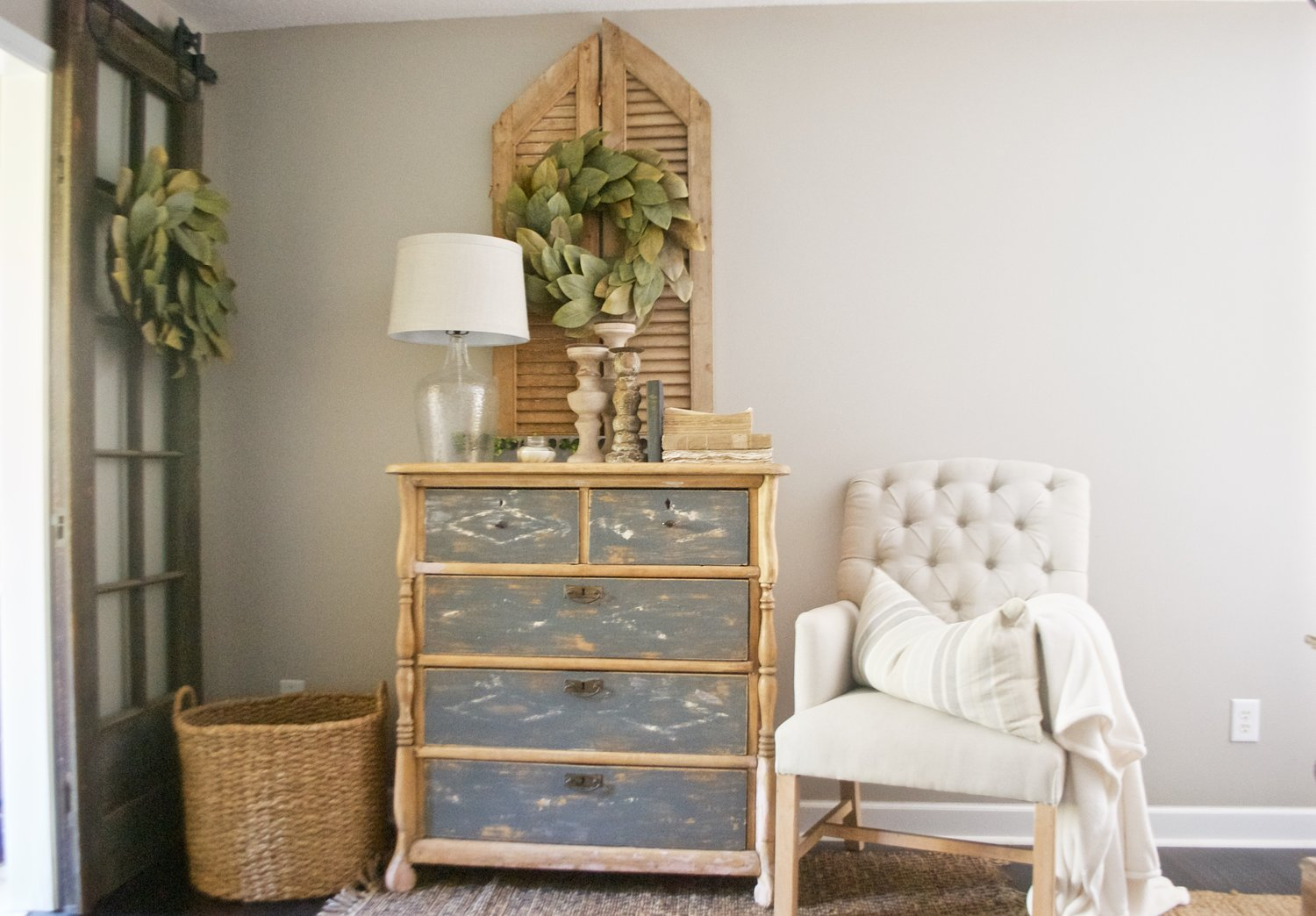 Farmhouse dresser and magnolia wreath