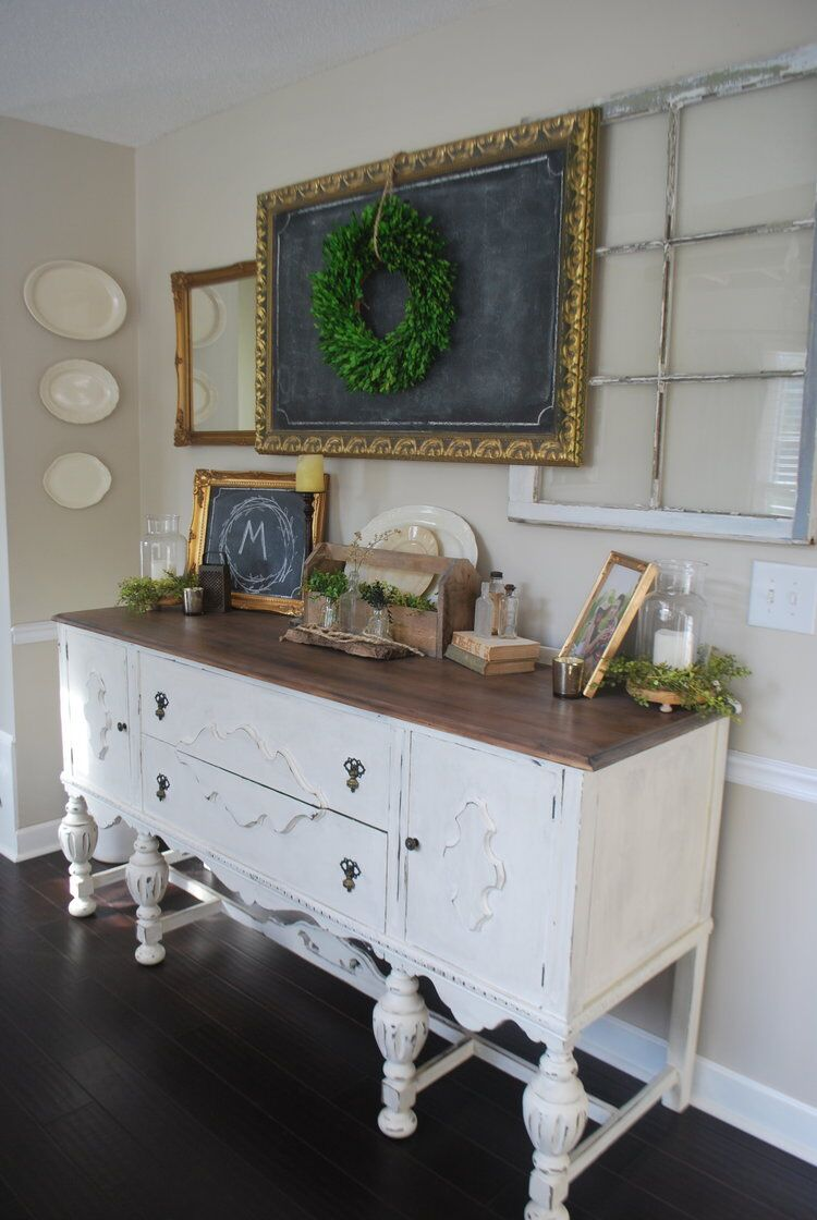 Antique buffet in a farmhouse dining room