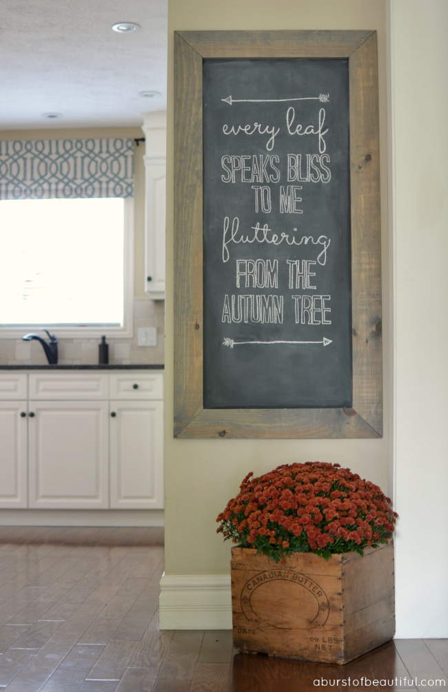 Love this rustic wood framed chalkboard
