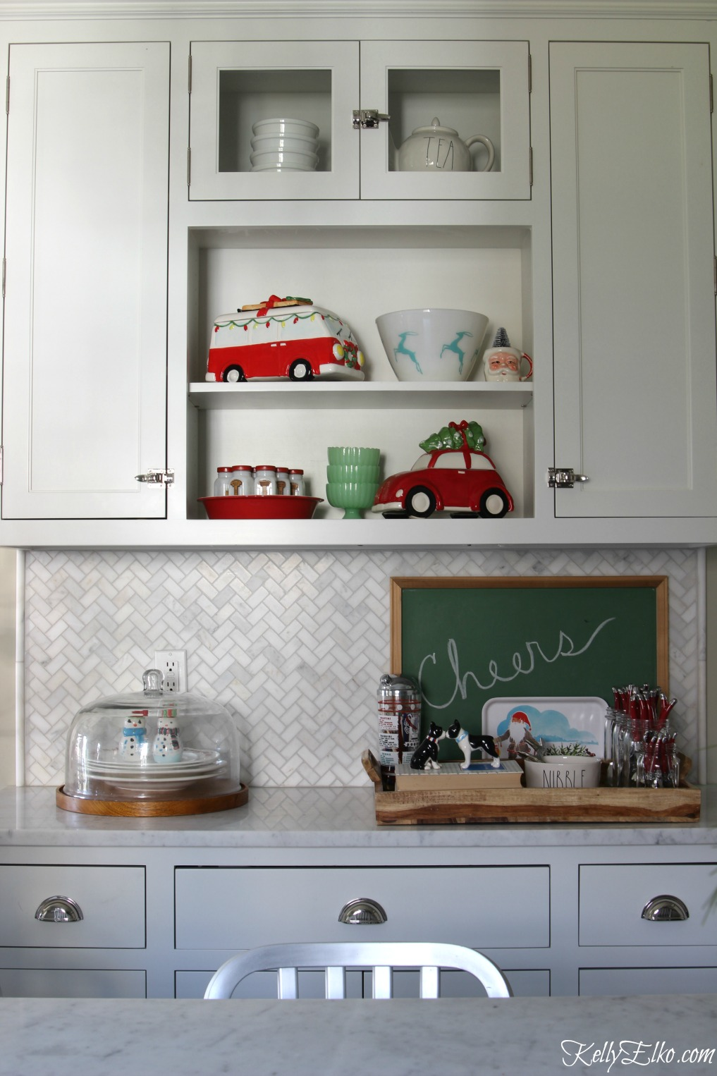 Christmas shelves and festive cookie jars in the kitchen kellyelko.com