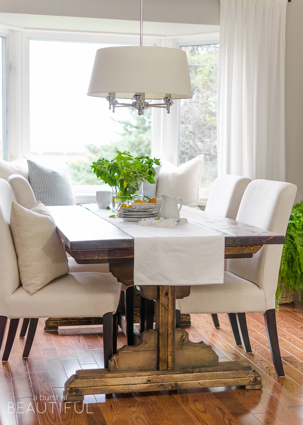 DIY Farmhouse dining table with plans to build your own!