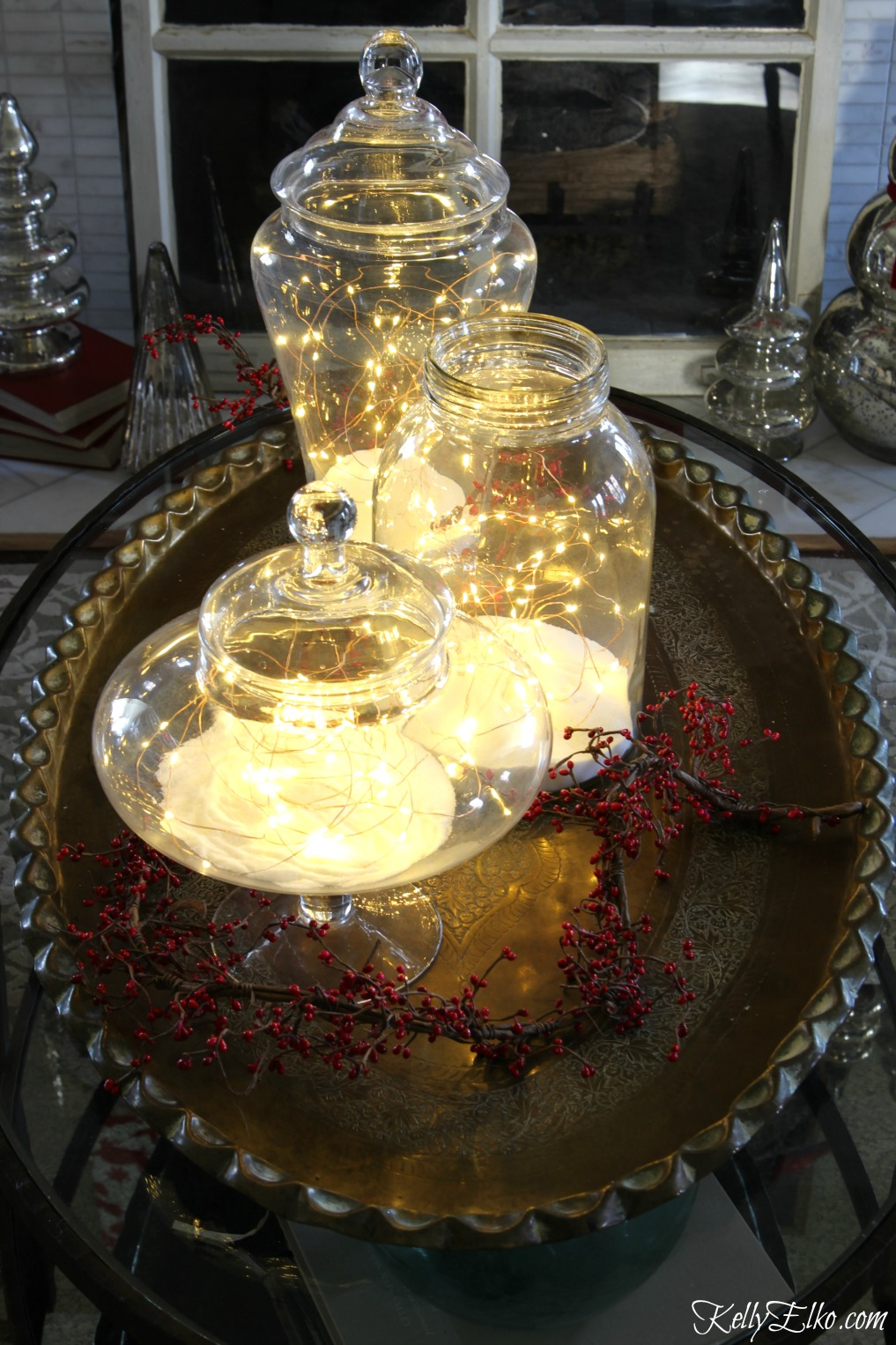 Creative Christmas Decorating Ideas - love these fairy jars and she shares the best lights to use! kellyelko.com