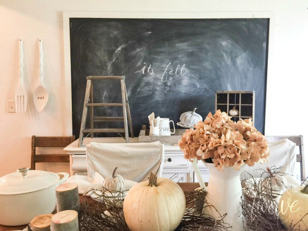 Farmhouse dining room with giant chalkboard
