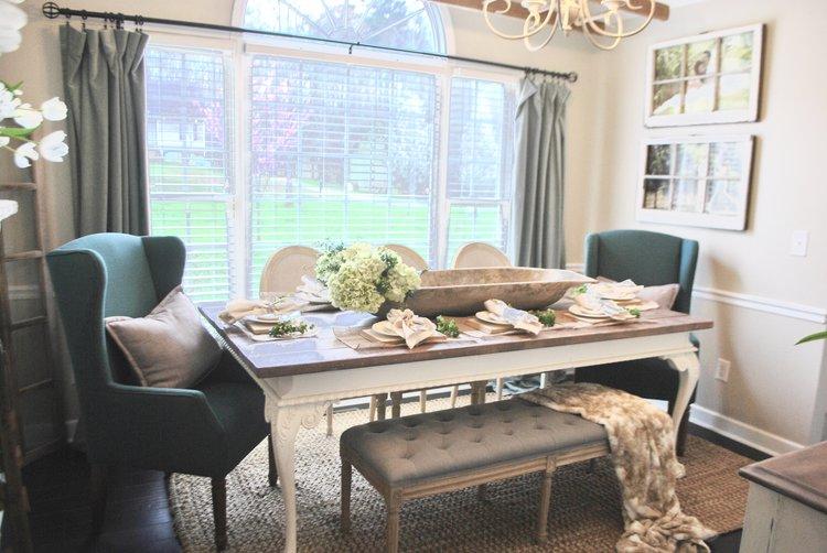 Farmhouse dining room dough bowl centerpiece