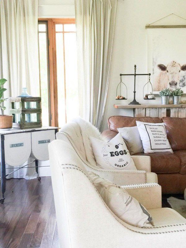 Love this neutral farmhouse family room