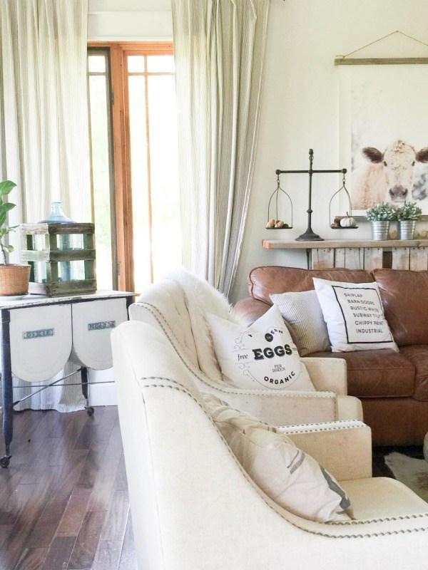 Love this neutral farmhouse family room