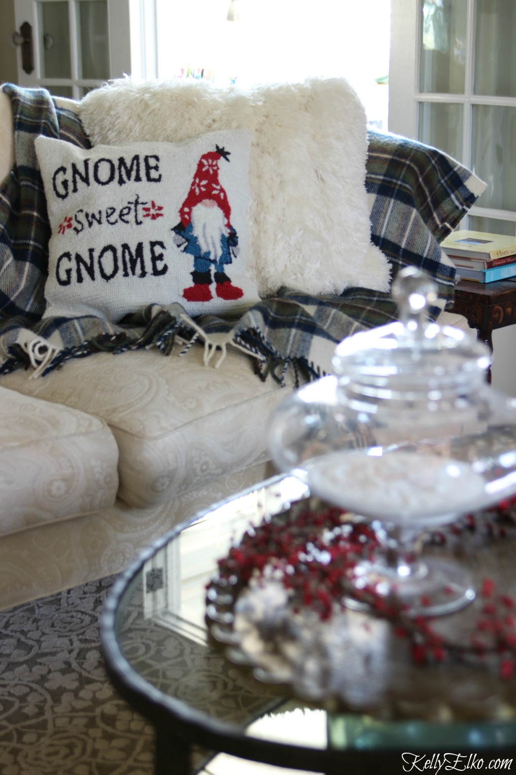 Gnome Sweet Gnome pillow kellyelko.com
