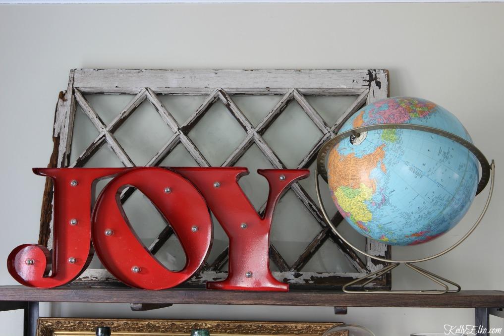 Joy to the World with vintage globe - fun Christmas decoration kellyelko.com