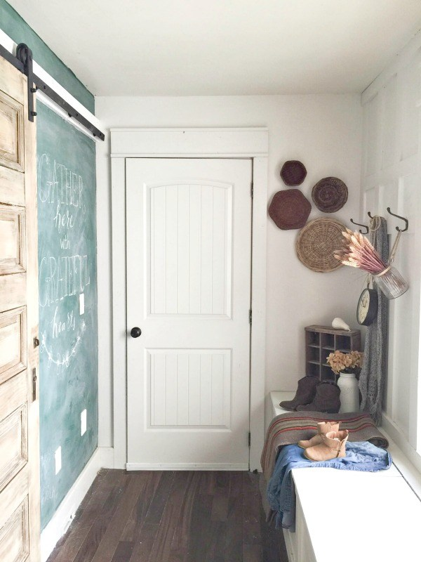 Mudroom with giant chalkboard wall