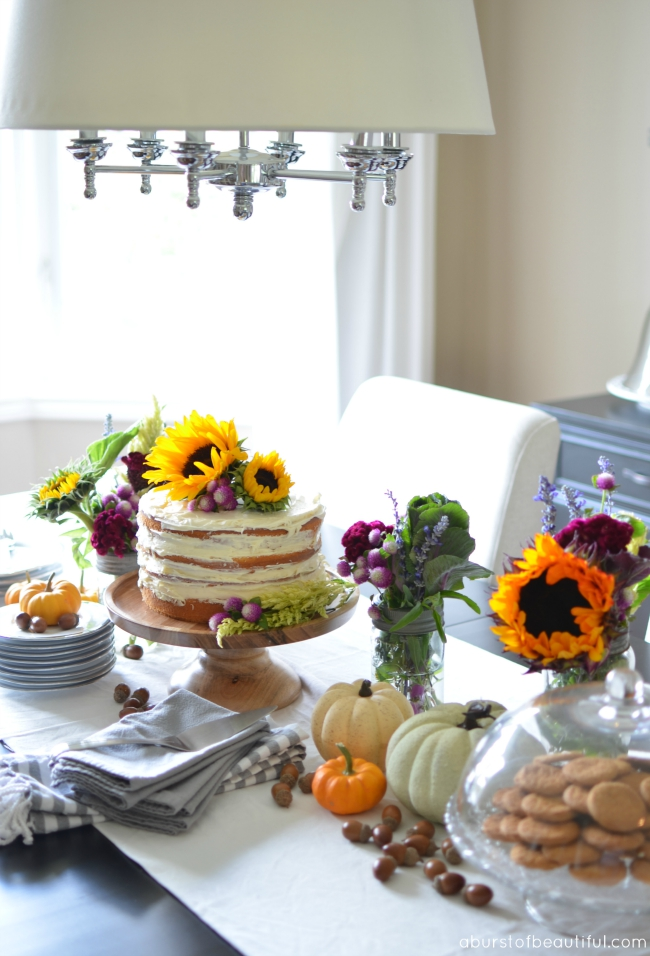 Overflowing fall centerpiece - love the naked cake