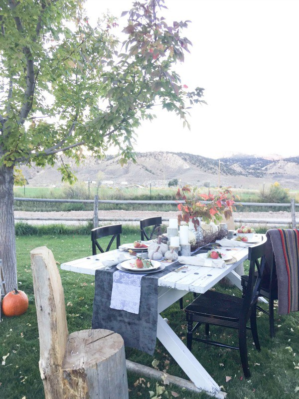 What a view - love this outdoor table setting for fall