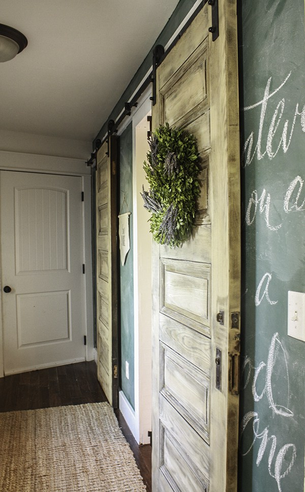 DIY sliding barn doors - love the green chalkboard wall too