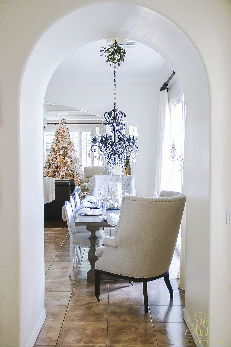 Beautiful Christmas kitchen - love the crystal chandelier