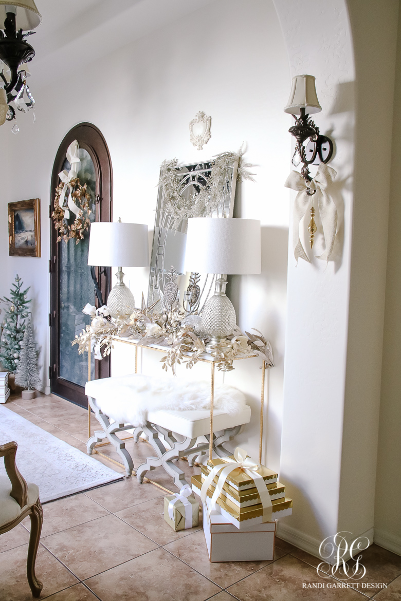 Festive foyer in whites and golds