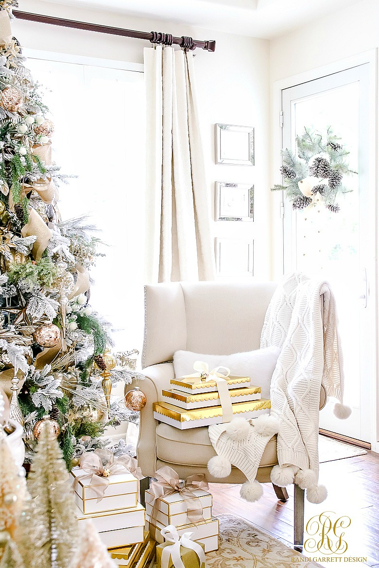 Cozy Christmas home - love the stacks of gold gifts
