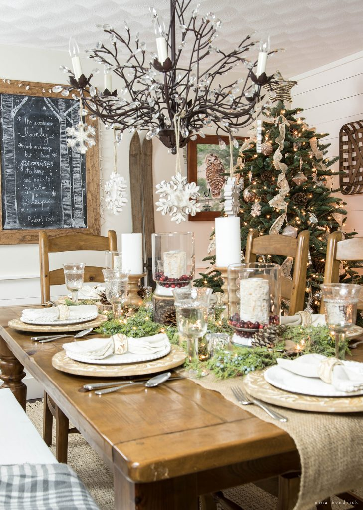 Rustic Christmas dining room table setting