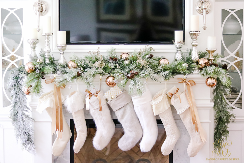 Gorgeous Christmas mantel with white stockings