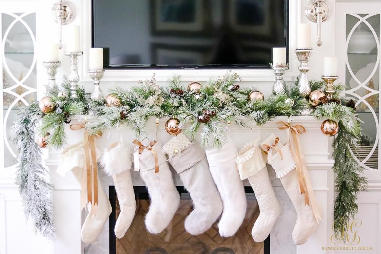 Gorgeous Christmas mantel with white stockings