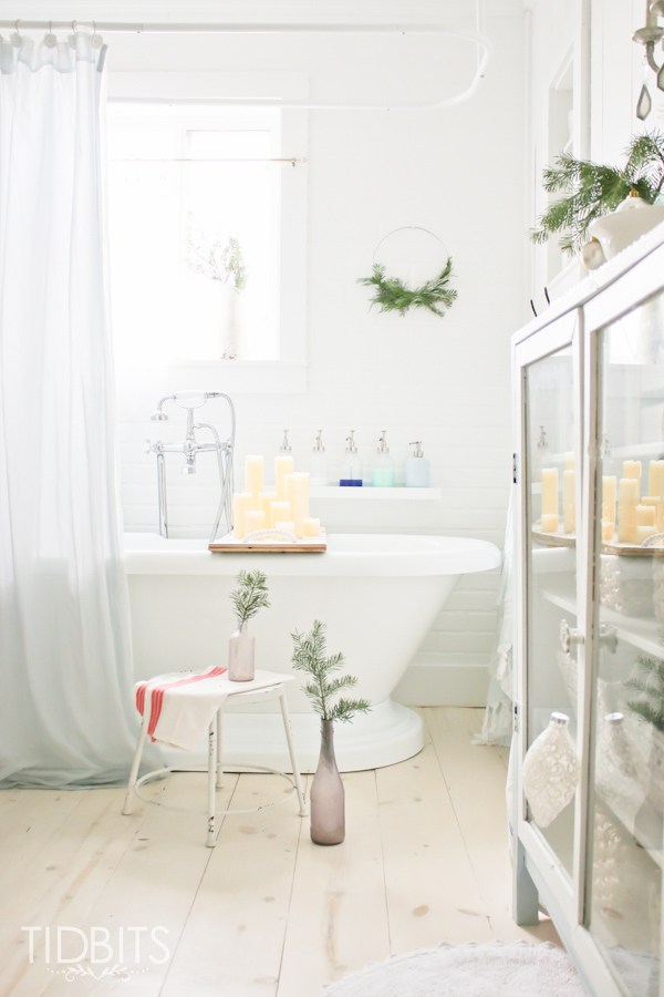 French farmhouse Christmas bathroom
