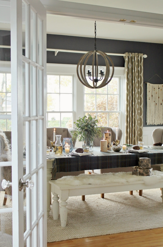 Christmas dining room with cozy plaid and sheepskin throws