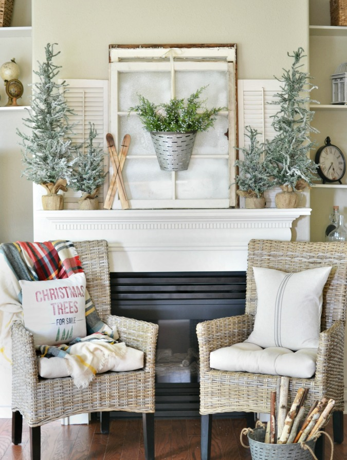 Christmas mantel with old windows and mini trees