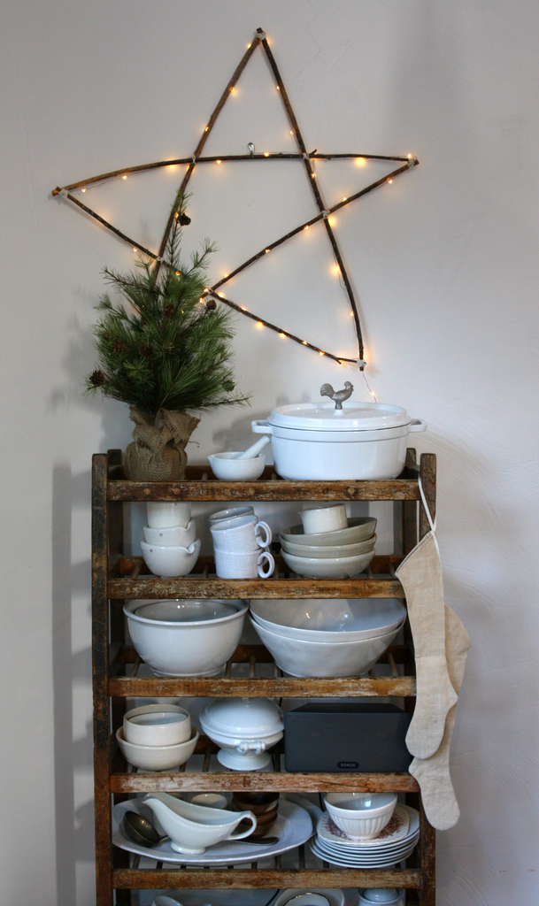 Christmas wood star and vintage ironstone