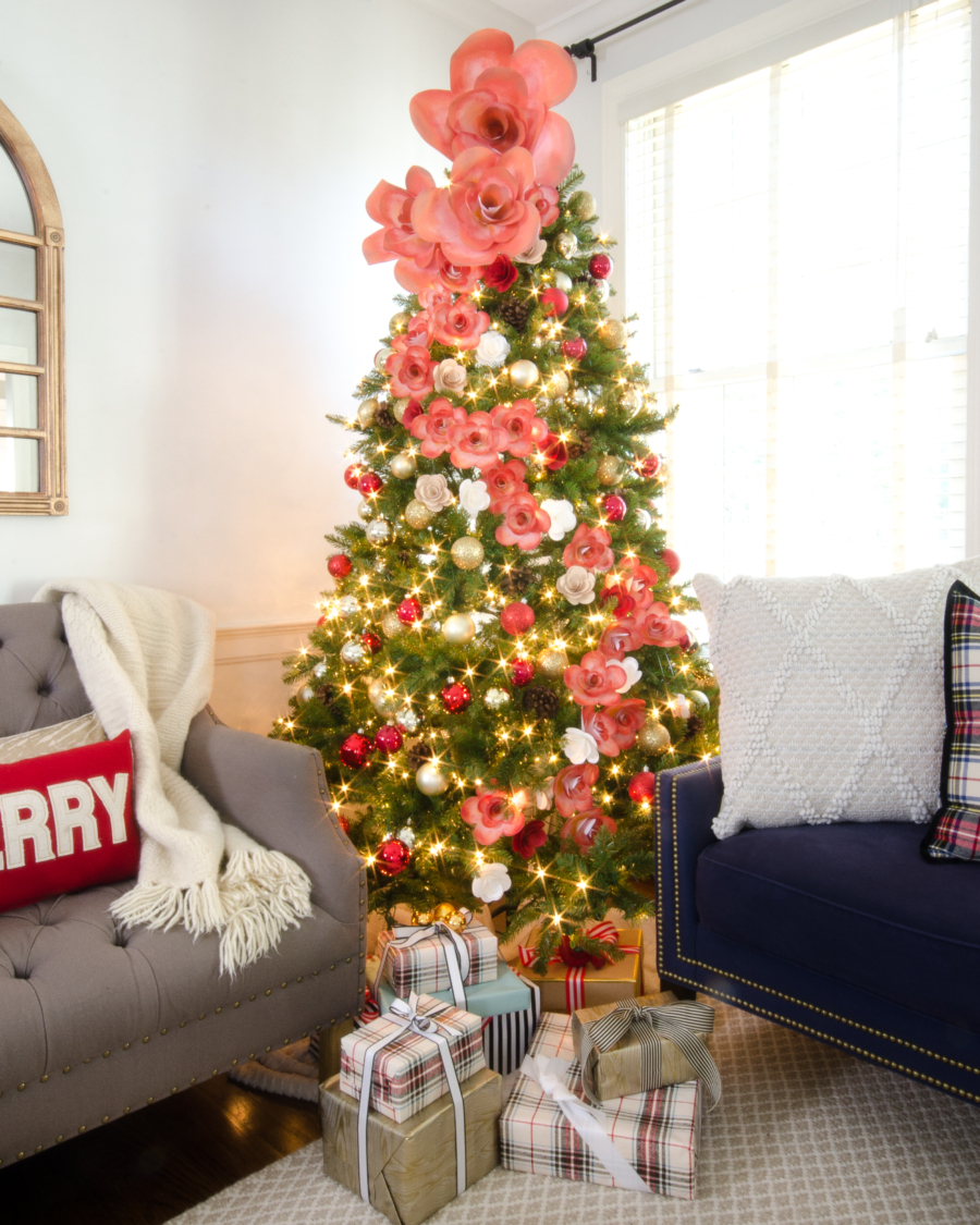 DIY giant paper flower Christmas tree