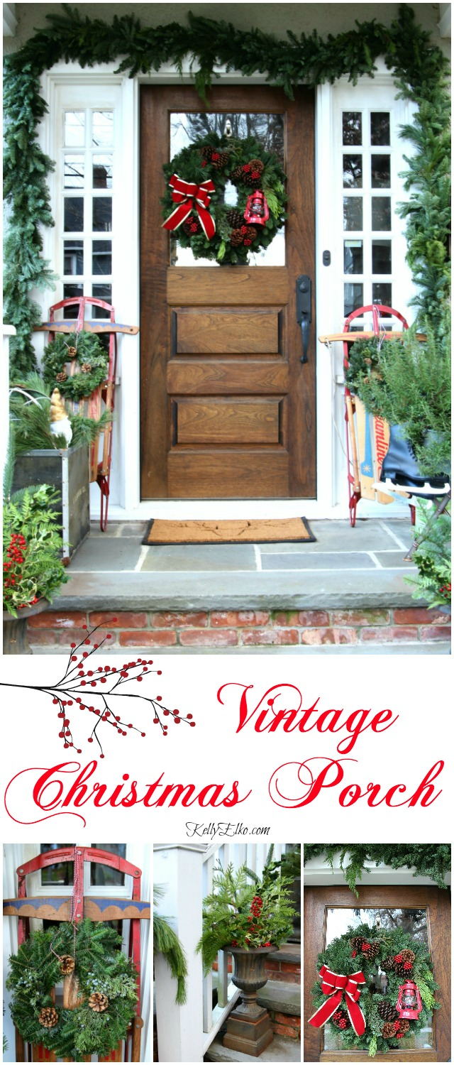 Vintage Sled Christmas Porch - love all the unexpected touches! kellyelko.com