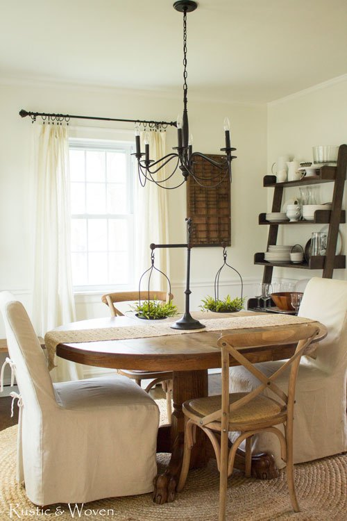 Neutral farmhouse dining room - love the mismatched chairs