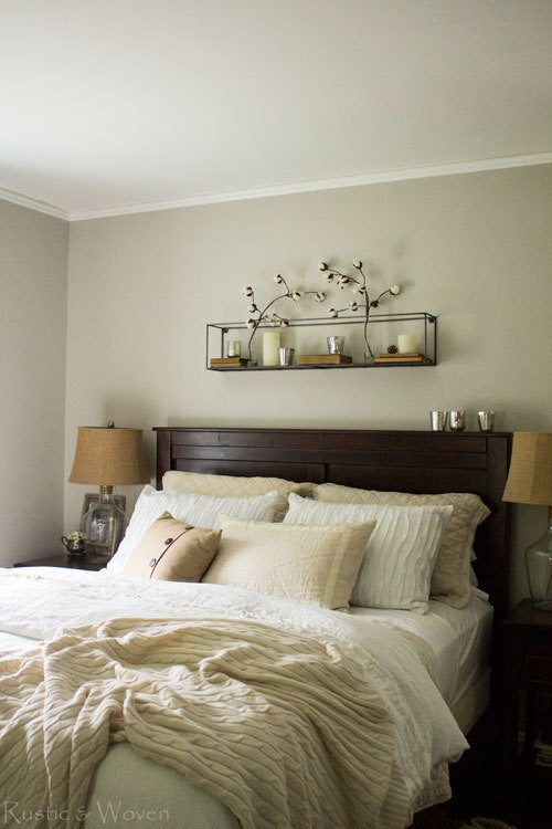 Cozy, neutral and textured master bedroom