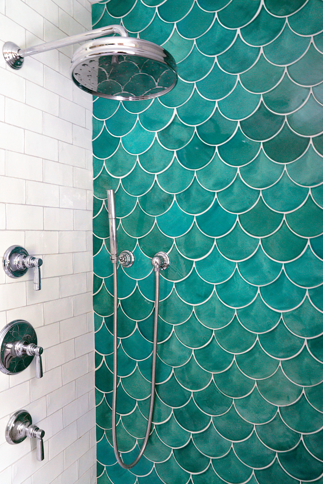 Blue fish scale tile in the shower