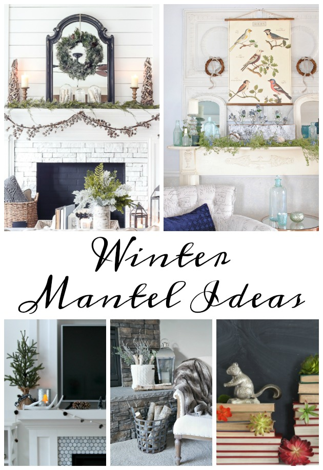 Winter Mantel Decorating Ideas kellyelko.com