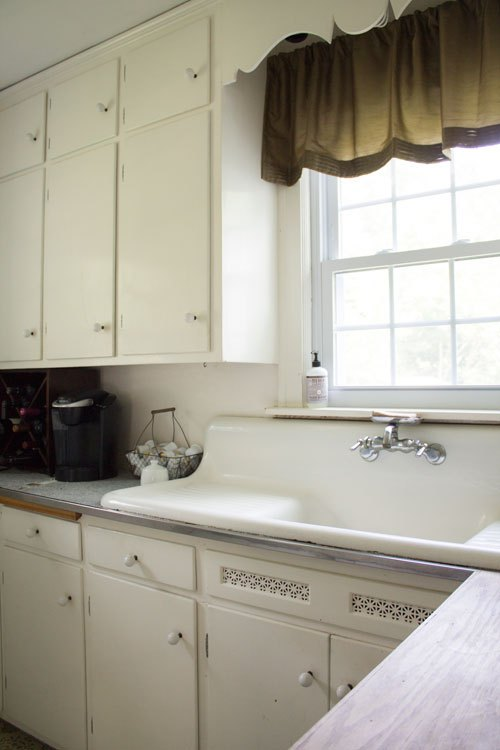 Vintage kitchen with original farmhouse sink